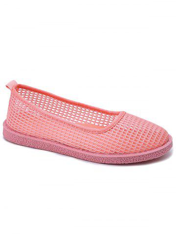 Flat Heel Mesh Slip On Casual Shoes - LIGHT PINK - 35