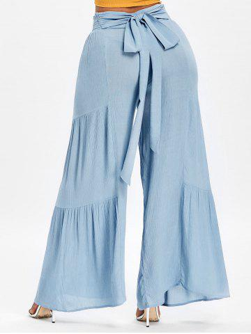 Online Ruched Bowknot High Waisted Wide Leg Pants