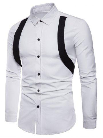 Online Suspenders Decorated Turndown Collar Shirt