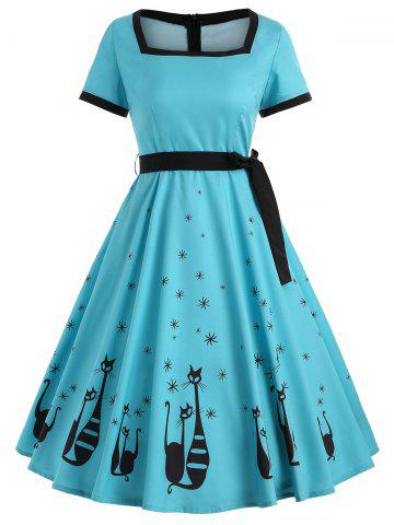 New Vintage Cat Print Swing Dress