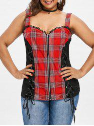 Plus Size Lace-up Plaid Sweetheart Tank Top -
