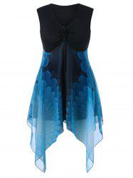 Plus Size Sleeveless Handkerchief Hem Dress -