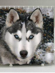 Huskie Snow Printed Waterproof Bath Curtain -