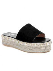 Faux Pearl Detail Platform Beach Slippers -
