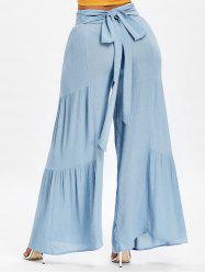 Ruched Bowknot High Waisted Wide Leg Pants -