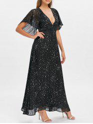 Plunge Cut Out Stars Print Maxi Party Dress -