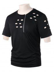 Ripped Cut Out Zipper Tee -