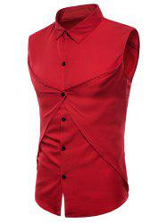 Faux Two Piece Solid Color Sleeveless Shirt -