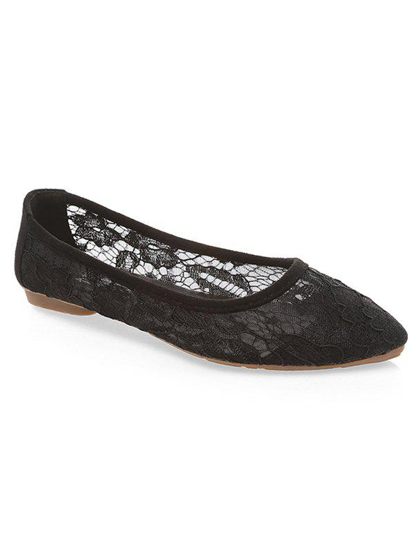 Latest Breathable Lace Pointed Toe Flats