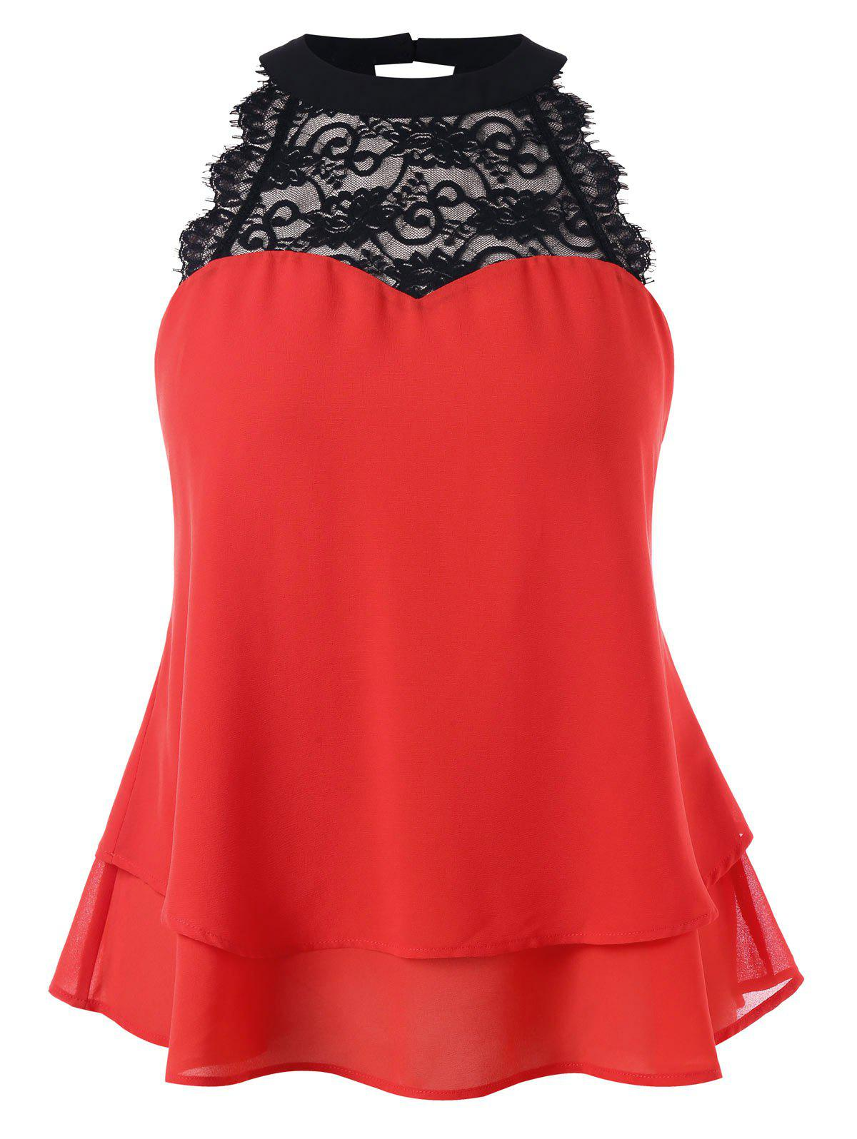 Discount Plus Size Bowknot Embellished Tiered Sleeveless Blouse