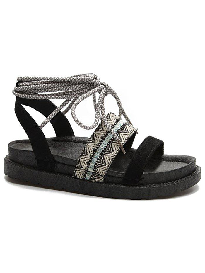 Latest Ankle Strap Tribal Print Lace Up Sandals