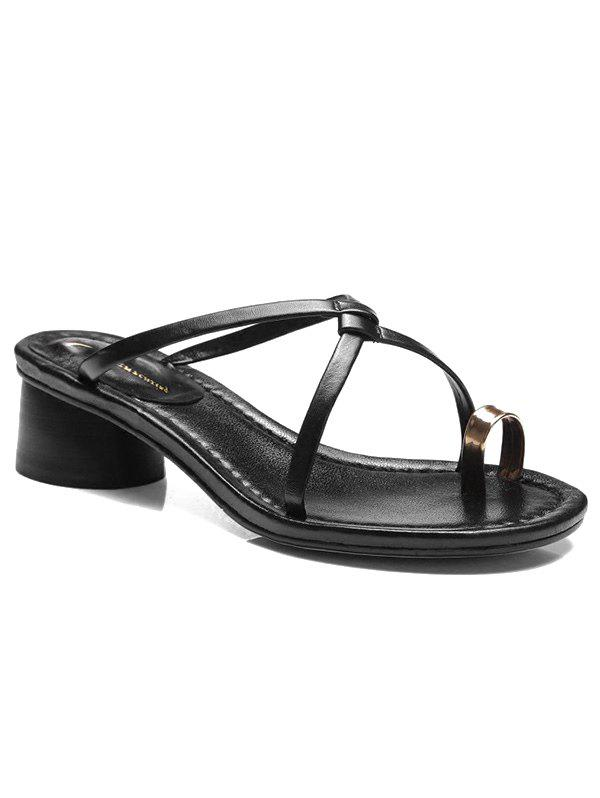 Online Chunky Heel Leisure Thong Sandals