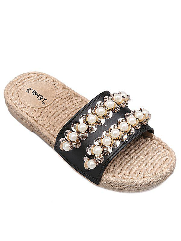 Latest Espadrille Leisure Faux Pearl Slide Sandals