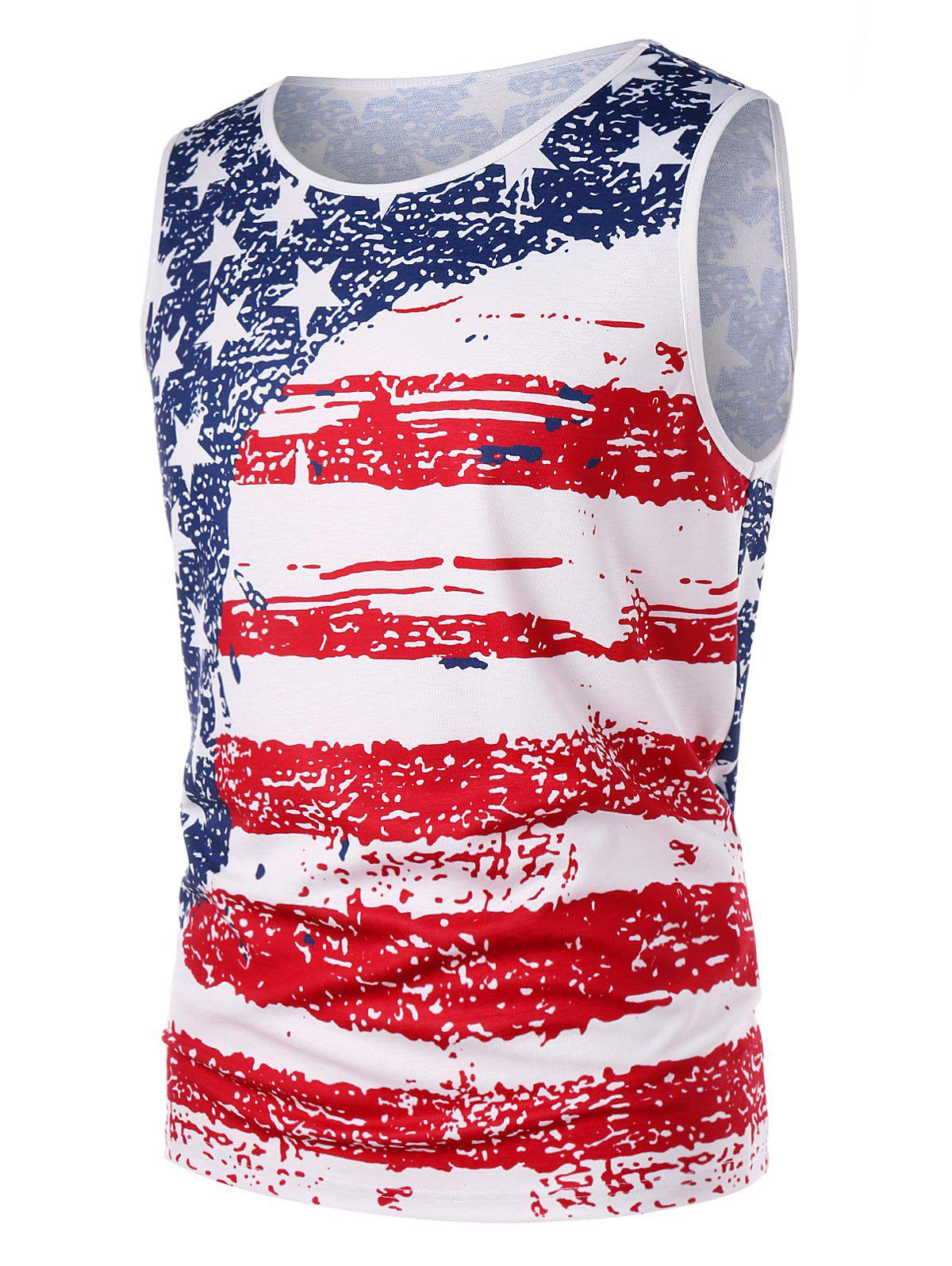 Shops American Flag Print Tank Top