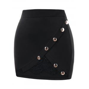Plus Size Buttoned Lace Insert Mini Skirt -