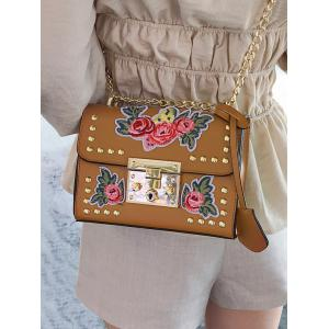 Vintage Floral Embroidery Patchwork Chain Crossbody Bag -