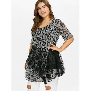 Plus Size Lace Trim Paisley T-shirt -