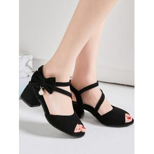 Block Heel Bowknot Peep Toe Sandals -