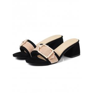 Chaussures à talons Chunky Faux Pearl Chunky Color Block -