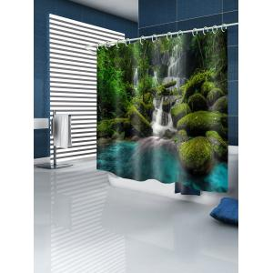 Forest Waterfall Print Waterproof Shower Curtain -