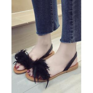 Flat Heel Casual Feather Slingback Sandals -