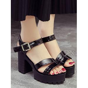 Casual Block Heel Platform Ankle Strap Sandals -