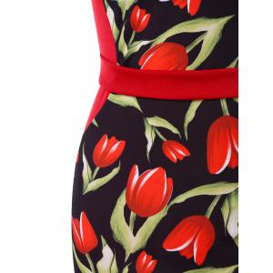 Rose Print Strappy Vintage Bodycon Dress -
