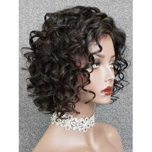 Short Inclined Bang Curly Wave Lace Front Human Hair Wig -