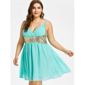 Plus Size Sleeveless Sequined Flowy Dress -