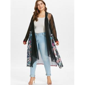 Plus Size Embroidery Sheer Coat -
