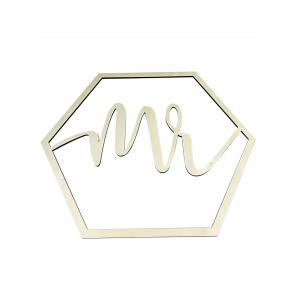 Hexagon Mr and Mrs Chair Signs Wooden Wedding Decor -