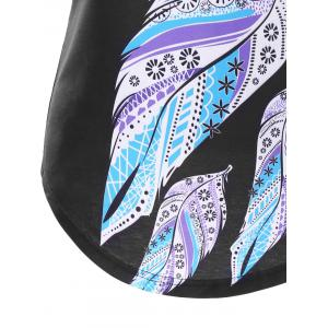 Feather Print Lace Insert Tank Top -