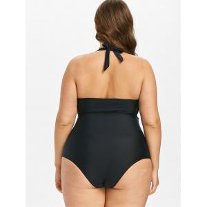 Plus Size Halter Tummy Control Swimsuit -