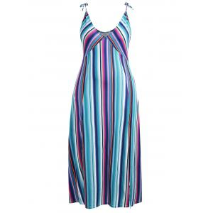 Striped Slit Plus Size Maxi Dress -