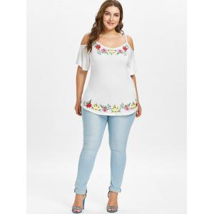 Plus Size Embroidery Cold Shoulder Blouse -