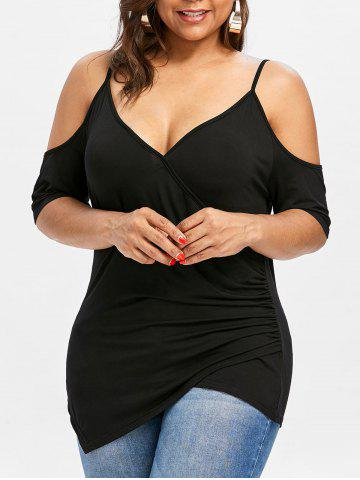 Plus Size Cold Shoulder Asymmetric T-shirt - Black - 2x