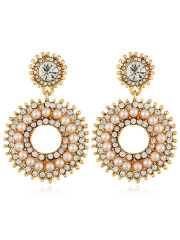 Rhinestone Inlaid Faux Pearl Hollow Out Drop Earrings - Warm White