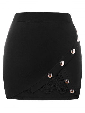 New Plus Size Buttoned Lace Insert Mini Skirt