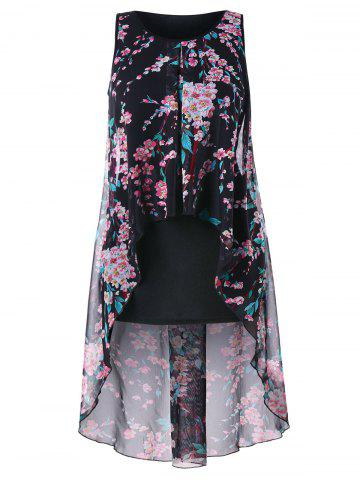 Plus Size Floral Overlay High Low Top