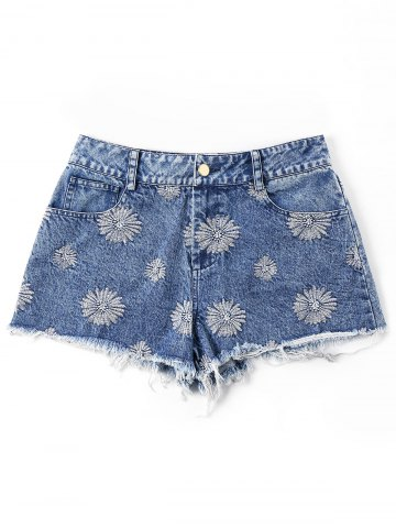 Cheap Embroidery Frayed Hem Jean Shorts