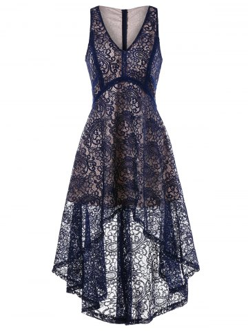 Sale Sleeveless Asymmetrical Lace Dress