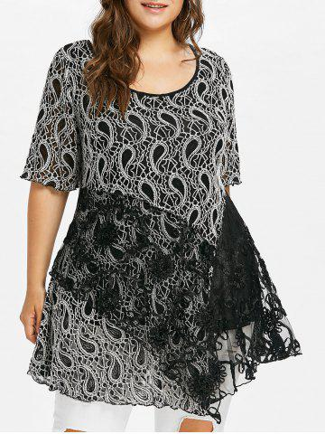 Trendy Plus Size Lace Trim Paisley T-shirt