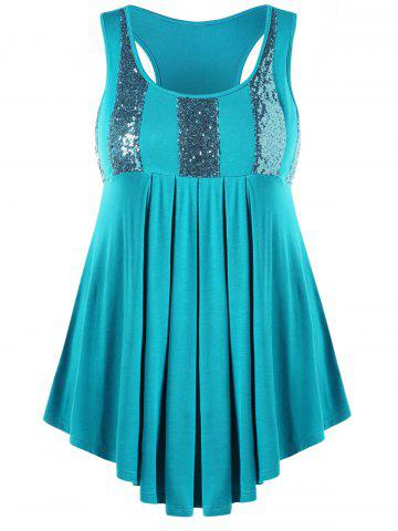 Plus Size Glittery Pleated Tank Top - Medium Turquoise - 2x