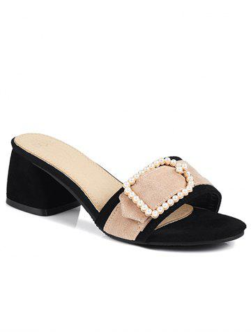 Chic Color Block Chunky Heel Faux Pearl Mules Shoes