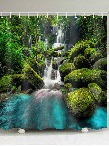 Hot Forest Waterfall Print Waterproof Shower Curtain