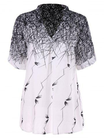 Latest Swallow Lines Print Tunic Blouse