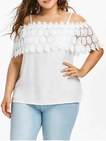 Plus Size Lace Crochet Flounce Blouse - White - 5x