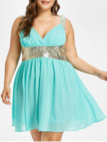Plus Size Sleeveless Sequined Flowy Dress - Electric Blue - 5x