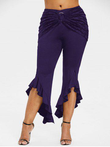 Fancy Ruffle Plus Size Removable Lace Skirt Leggings