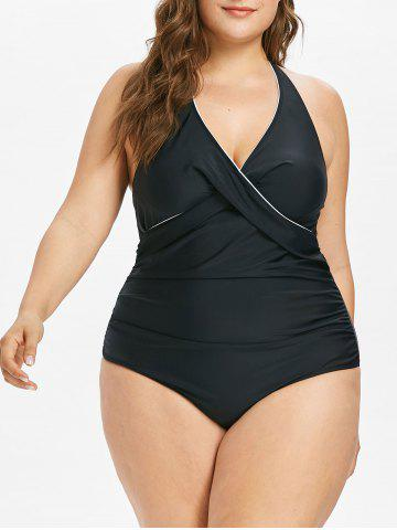 Fashion Plus Size Halter Tummy Control Swimsuit